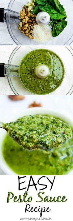 An easy pesto sauce recipe that is ready in 5 minutes! This delicious homemade recipe taste 10x better than store-bought pesto, & is much healthier for you.