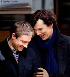 Benedict Cumberbatch and Martin Freeman. This is one of the cutest photos of them, this is actually the perfect shot of pure happiness and they are just too adorable for words