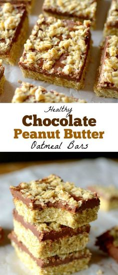 These Chocolate Peanut Butter Oatmeal Bars are a delicious and nutritious breakfast, snack or dessert! They're also gluten-free + vegan friendly! Chocolate + Peanut Butter is literally a match made in… Peanut Butter Oatmeal Bars, Chocolate Oatmeal Cookies, Peanut Butter Filling, Oatmeal Cookie Recipes, Chocolate Peanuts, Chocolate Peanut Butter, Vegan Oatmeal, Nutter Butter, Chocolate Chips