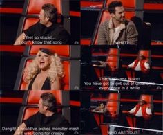 The Voice.  Blake Shelton, Adam Levine, Christina Aguilera.  Nirvana.