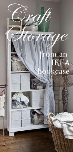 DIY craft shelves from an Ikea bookcase on the BLOG - Cedar Hill Farmhouse.