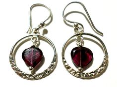 Garnet and Sterling Silver Earrings  Sterling Silver by StaggsLane