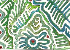 Summer Day #3  Marker and Gauche on paper by Heidi Wineland. ATC Artist Trading Card
