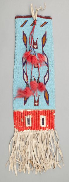 SIOUX BEADED HIDE TOBACCO BAG. c. 1910... Image #2