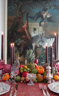 Happy Thanksgiving | Carolyne Roehm  I like the fruit and vegetable centerpiece.  Do not care for the painting in the background