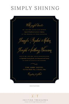 84056dd62b Simply Shining Foil Pressed Invitation. Black And Gold ...