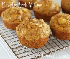 Recipe for moist pumpkin muffins with chunks of fresh apple and nuts. I like to add Craisins to mine!