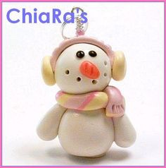 Polymer Clay  Pink Snowman Charm by CharmthisClayCharms on Etsy, $3.00