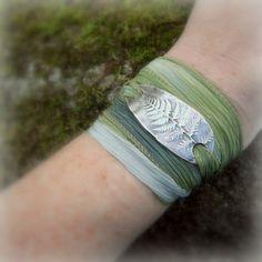 Fern Bracelet - Silk Ribbon Wrap Bracelet - Woodland - Forest - Botanical - Real Leaf - Silvan Leaf - Artisan Handcrafted- Recycled Silver