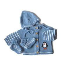 Knit blue baby set merino penguin set babies clothing by Tuttolv, $77.00