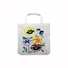 Tote Bag White Cheerful Pansies Flower Art Design by CreativesByCourtney on Etsy