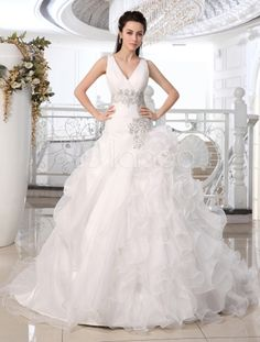 Ivory Ball Gown V-Neck Spaghetti Strap Ruched Court Train Organza Brides Wedding Dress - Milanoo.com