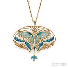 Art Nouveau 18kt Gold, Plique-a-Jour Enamel, and Diamond Pendant/Brooch, Henri Vever