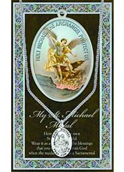 Pewter medal with chain Includes embossed pamphlet with Saint biography, patron attributes, feast day and appropriate prayer. St Michael Medal, Saint Michael, Picture Folder, St Michael Pendant, Catholic Gifts, Prayer Cards, Patron Saints, Religious Jewelry, Stainless Steel Chain