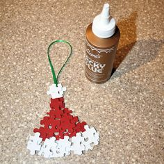 puzzle pieces ornaments | Cut the Ribbon for Your Santa Hat Ornament