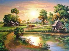 Traditional Cambodian village by river Indian Art Paintings, Nature Paintings, Beautiful Paintings, Watercolor Landscape Paintings, Landscape Drawings, Watercolor Art, Village Scene Drawing, Art Village, Fantasy Landscape