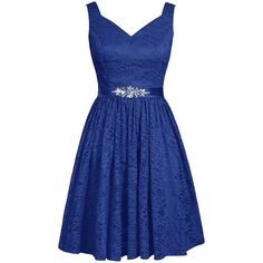 Angel Formal Dresses Women's Short Lace Bridesmaid Dresses Evening... ($49) ❤ liked on Polyvore featuring dresses, gowns, short evening gowns, evening gowns, formal evening dresses, formal gowns and blue prom dresses