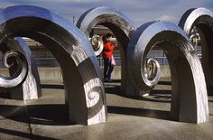Waves sculpture near Ballard Locks Seattle Washington