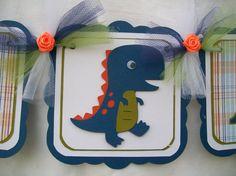 blue dinosaur baby shower banner, it's a boy