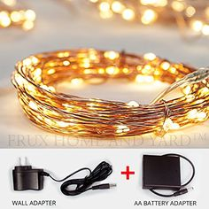 Fairy Star String Lights - Extra Long 39ft Warm White LED Copper Wire Indoor Outdoor - Wall adapter AND BONUS Battery Adaptor Included plus Remote Control Frux Home and Yard http://www.amazon.com/dp/B00JT3DDJO/ref=cm_sw_r_pi_dp_PshXwb0RRXT7J