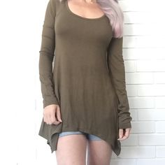 🔴BOGO FREE🔴 Olive Scoop Neck Trapeze Hem Top ♦️️Buy any item at list price to receive another item FREE. Please ask me to create your bundle (lesser value item will be free)♦️  •NWOT •Scoop neck •Long sleeve •Fitted through torso •Trapeze hem •Tunic length •Olive L  •NO TRADE/HOLD  •YES BUNDLES   •PLEASE ASK QUESTIONS & READ DESCRIPTIONS. Measurements and sizing recommendations are for guidance purposes only. I cannot guarantee fit❗️ Boutique Tops Tunics