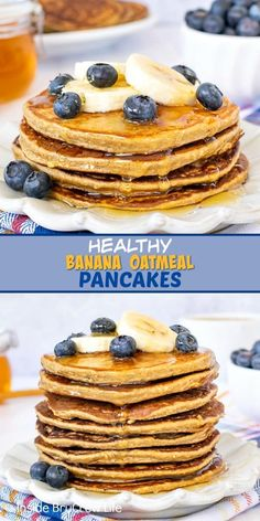 Healthy Banana Oatmeal Pancakes - these easy flourless pancakes are made with just a few ingredients and ready in minutes. Serve them with fresh fruit and honey for a delicious and healthy breakfast. Oatmeal Pancakes Easy, Banana Pancakes, Delicious Breakfast Recipes, Brunch Recipes, Yummy Recipes, Free Recipes, Healthy Recipes, Healthy Comfort Food, Healthy Eating