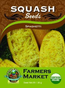 Organic Spaghetti Squash Seeds by Farmers Market. Save 44 Off!. $6.69. Certified organic seeds from small, independent farms. Vigorous, early variety of spaghetti squash produces 5 - 6 fruit per plant; drought-tolerant. 10% of all seed sales will be donated to the State Farmers Market Association. Annual; matures in 75 -110 days. Bush structured plant that spreads; plant on mounds for optimal growth. The Spaghetti Squash is a true bush plant structure that spreads, be sure to plant ...