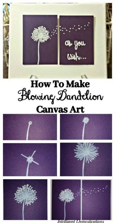 Small canvas art - how to make blowing dandelion canvas art Blowing Dandelion, Dandelion Painting, Diy Painting, Dandelion Drawing, Dandelion Clock, Cactus Painting, Large Canvas Art, Diy Canvas, Canvas Wall Art