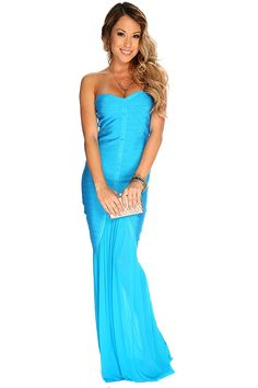 Turn heads when you hit the night in this elegant maxi dress. Featuring a sweetheart neckline, strapless, sleeveless, bandage material, sheer skirt.http://www.amiclubwear.com/cocktail-dresses.html