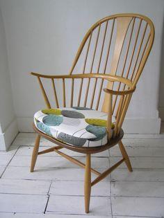 Ercol Blue Label Armchair Chair Sanderson S Dandelion Clocks