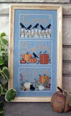 Pumpkins and Crows PDF Cross Stitch Chart by anniebeez on Etsy, $10.00