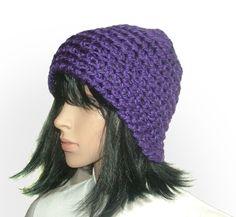 purple chunky beanie #crochet beanie be Renate Kirkpatrick