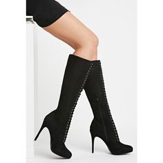 Knee-High Lace-Up Boots ($45) ❤ liked on Polyvore featuring shoes and boots