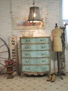Painted Cottage Furniture--guess turquoise is my accent color.  It seems to brighten up brown, taupe, beige, and black perfectly.  Touches here, there and yon....