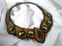 Bead Embroidery  Collar Necklace    Hope  Seed beaded necklace  Spring colors  Swarovski Khaki Olive  green