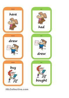Memory game to practise the past tense. There are 17 pairs of usual irregular verbs. Each pair has the same picture and the verbal form. Present and past card. English Games, English Fun, English Lessons, English Grammar, Teaching English, Learn English, Efl Teaching, English Class, Grammar Activities