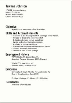 HttpResumeAnsurcComBasicResumeExamples  Basic Resume