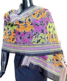 Beautiful multicolored kantha work dupatta in Bangalore silk. Buy handmade Kantha stoles, phulkari dupattas, handblock print dupattas, organza dupattas at http://giftpiper.com/Stoles-Dupattas-catid-36678-page-1.html