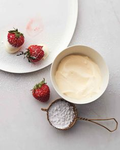 Strawberries with Creme Fraiche and Sugar