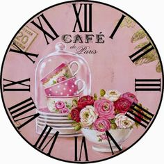 Clock face - Roses in teacup. Vintage Labels, Vintage Cards, Vintage Images, Printable Vintage, Clock Art, Diy Clock, Decoupage Vintage, Collages D'images, Clock Face Printable