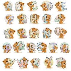 Buy English Alphabet with Teddy Bears by vectorpocket on GraphicRiver. Set of vector letters of the English, the Latin alphabet are in the clutches of funny teddy bear. English Alphabets With Pictures, Alphabet Pictures, Cartoon Clouds, Bear Graphic, Picture Letters, Tatty Teddy, Cute Teddy Bears, Bear Art, Background Patterns
