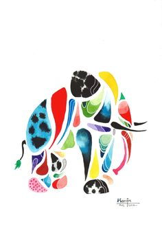 """Elephantus"" is an original painting depicting an elephant in an abstract composition where a variety of shapes are combined to create a whole. https://www.etsy.com/uk/listing/551949553/original-a4-animal-painting-abstract"
