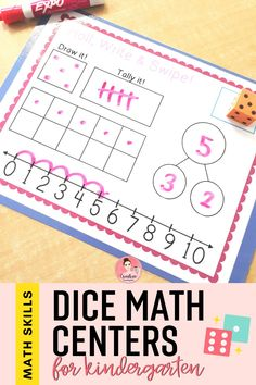 Work on a variety of math skills with these easy to use math centers. Students will use dice to reinforce adding, subtracting, number sense and more. Can be used all year! #mathactivity #mathcenter #kindergartenmath #creativekindergarten