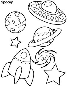 Spacey Shapes coloring page