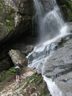 bridal veil falls nh hike | young hiker at Bridal Veil Falls in New Hampshire