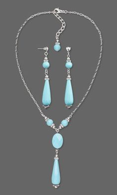 Jewelry Design - Single-Strand Necklace and Earring Set with Turquoise Gemstone Beads, Swarovski Crystal and Metal Chain - Fire Mountain Gems and Beads