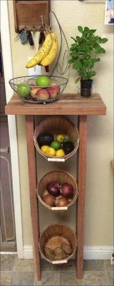 New kitchen organization diy pantry baskets ideas Diy Storage, Storage Baskets, Storage Ideas, Pantry Baskets, Fruit Storage, Food Storage, Kitchen Baskets, Smart Storage, Storage Design
