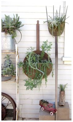 Miscellaneous garden tools and planters make for a whimsical display