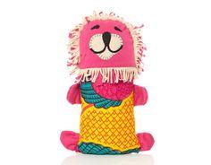 batik pink lion doll