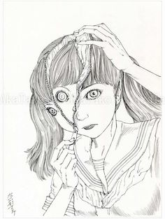 Brand new original monochrome drawing by Shintaro Kago of a girl in a school uniform. She unzips her scalp down the front of her face to reveal a second, hidden face inside. Ink on paper, created in 2